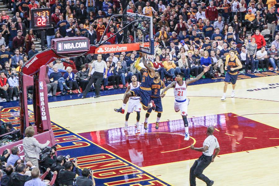Lebron James  drives the lane against the New York Knicks in the highly anticipated return of the king.