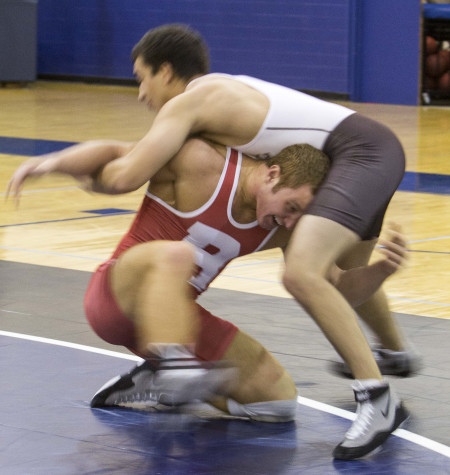 Nick Lees and Connor Medlang competed against one another in the wrestling team's opening intrasquad meet of the season, the Spartans return  to the mat on Saturday after three weeks off.