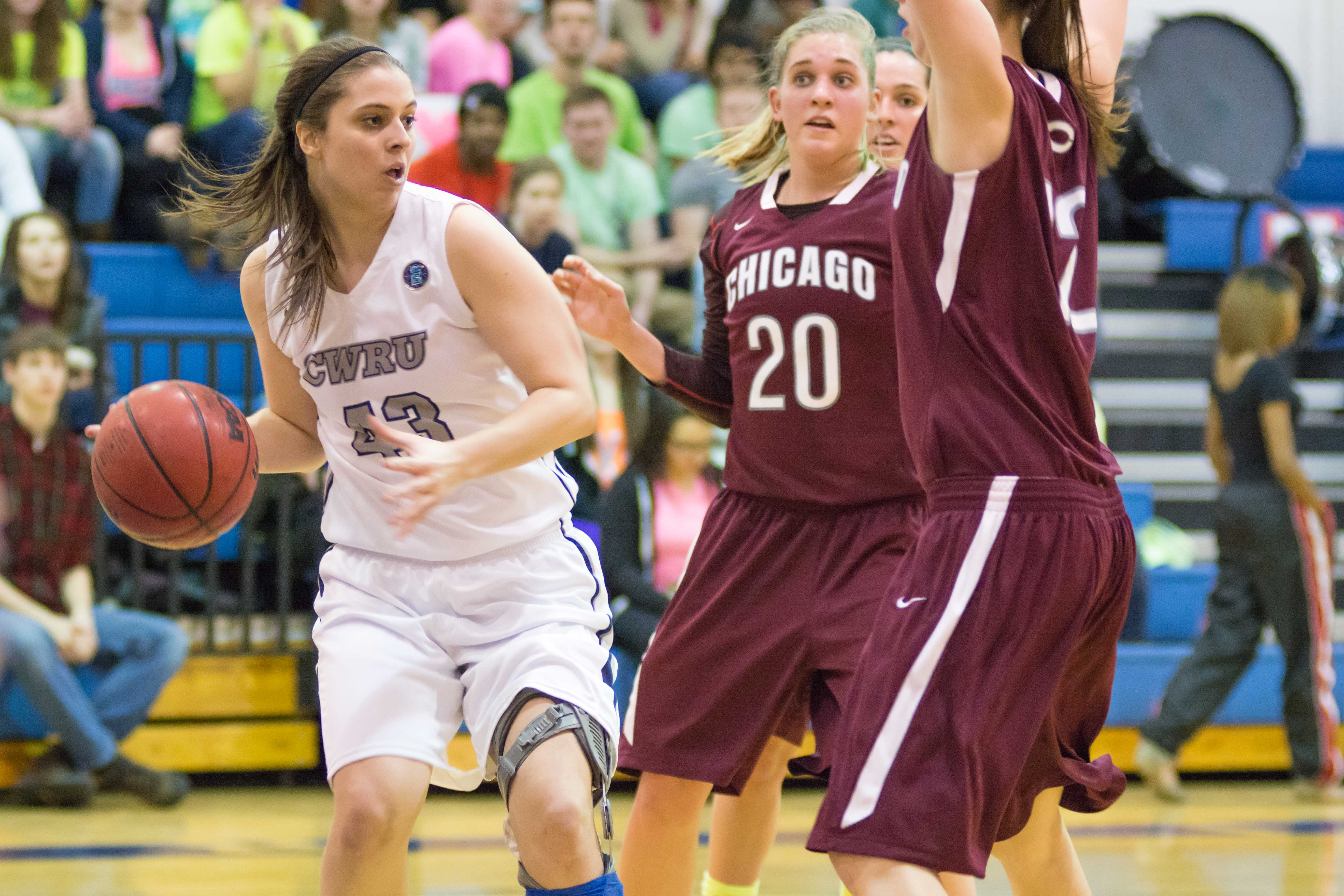 Rachel Beaty brings the ball up court against the visiting Chicago Maroons.
