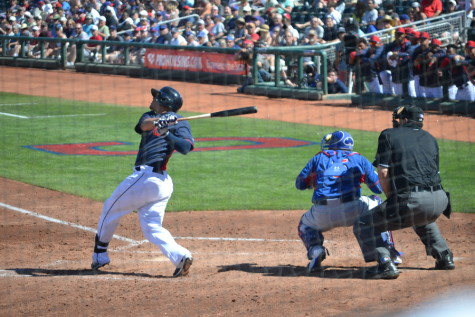 Indians minor league prospect Giovanny Urshela connects with a solid pitch in a spring training game against the Chicago Cubs.