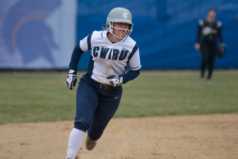 A Spartan baserunner rounds second and heads to third. The Spartans' aggressive approach on the bases has helped them win seven straight games.