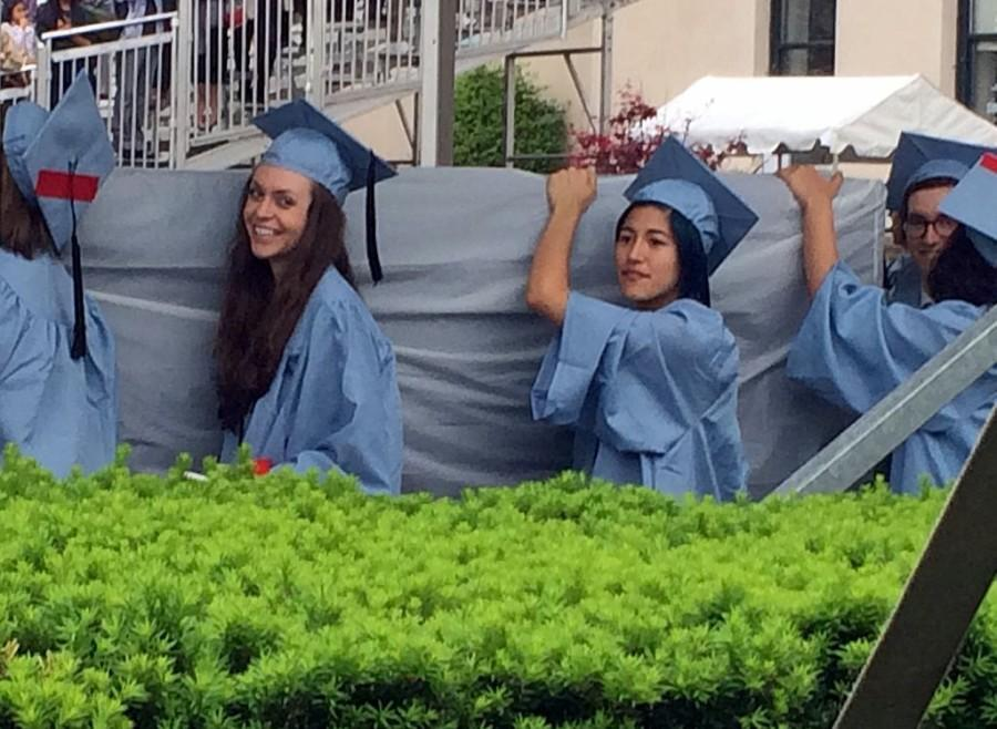 Sulkowicz carried her mattress at Columbia University's graduation ceremony on May 19.