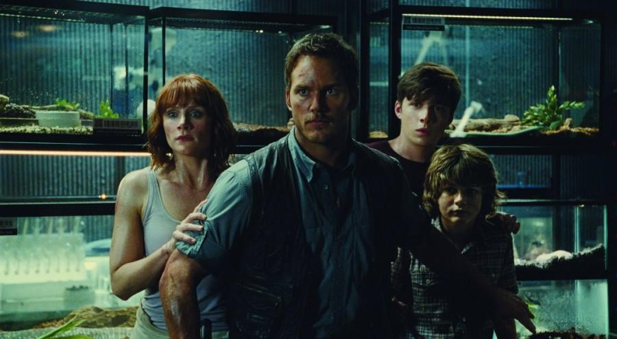 The film's stars (from right) Bryce Dallas Howard, Chris Pratt, Nick Robinson and Ty Simpkins.