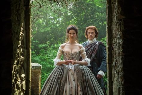 "Caitriona Balfe and Sam Heughan in Starz's ""Outlander""/Courtesy Yahoo TV"