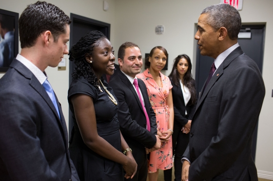 Senior Felipe Gomez del Campo met with President Barack Obama to discuss his research.