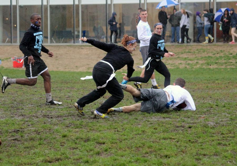 The rain and mud made for a slippery flag football game.