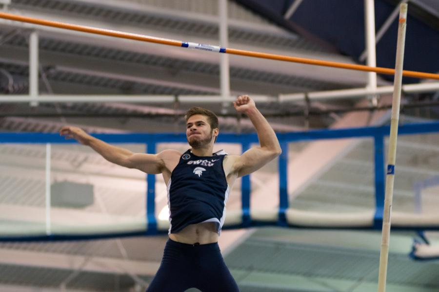 Spartan jumper Jared Brucker celebrates after making his jump. The Spartans return to action this weekend.