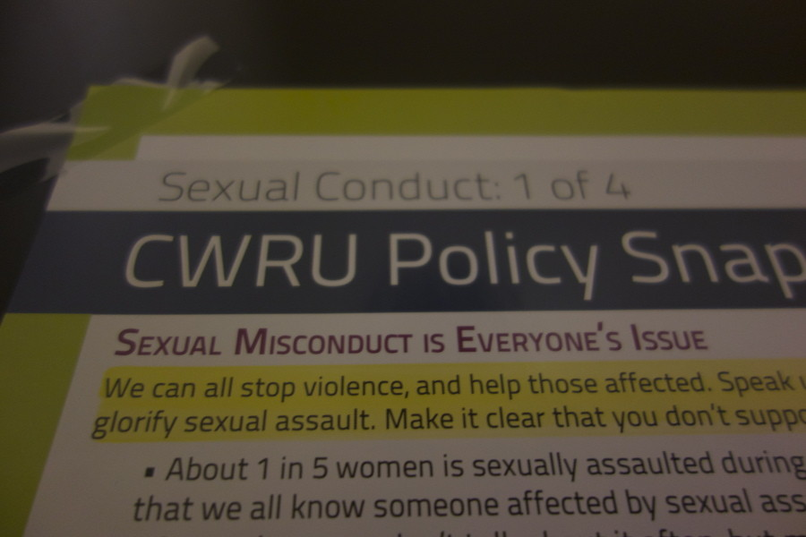 A poster in a bathroom on the first floor of Thwing. Sexual assualt is continuing a problem at CWRU, but many are working programs that hope to reduce the number of assualts and help victims.