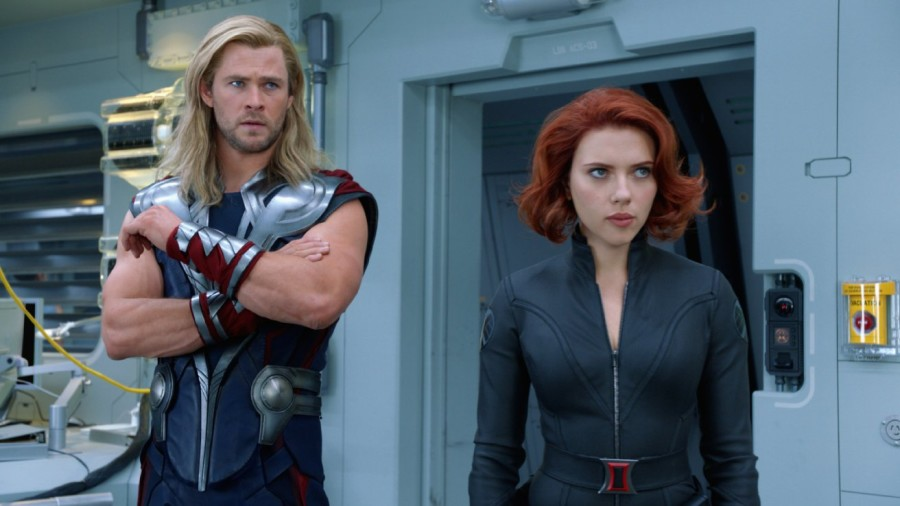 Chris Hemsworth and Scarlett Johansson in the 2012 film, Marvel's The Avengers.