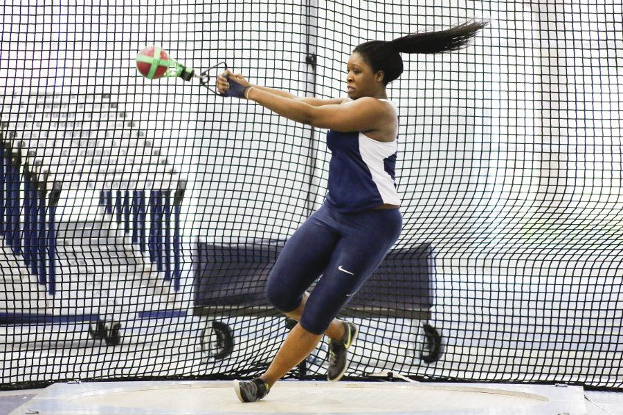 Fourth-year thrower Temi Omilabu in the midst of a hammer throw earlier this season. The Spartans placed third in their Marv Frye Invitational this weekend.