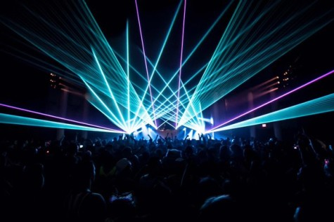 Datsik's show features an array of lasers and mirrors, which form a grid over the audience.