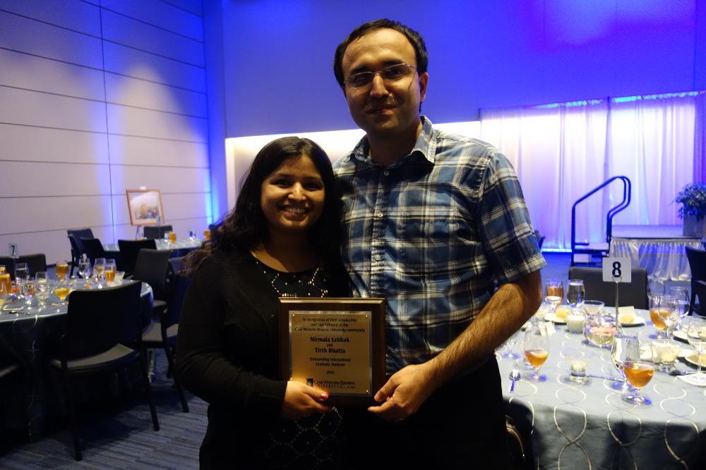 Tirth Bhatta and Nirmala Lekhak, a couple from Nepal, won the outstanding award for international graduate students