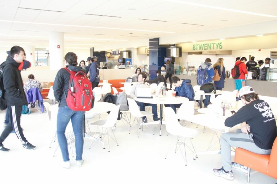 The food court in the Tinkham Veale University Center. What is not apparent to students is the hidden technology that makes the building energy efficient.