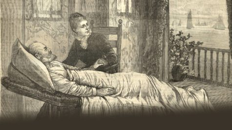 Lucretia Garfield, President Garfield's wife, took care of her sick husband in the sickroom.