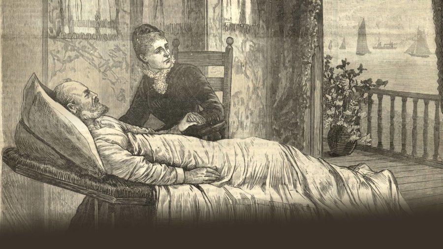 Lucretia Garfield, President Garfield's wife, took care of her sick husband in the sickroom.