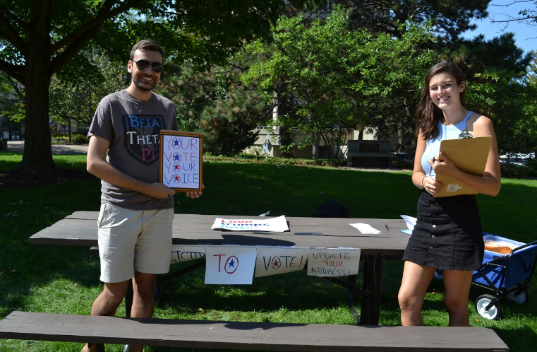 Members from Spartans for Hillary are promoting voter registration everywhere on campus. Their campaign will last until noon on October 11, the last day to register in Ohio.