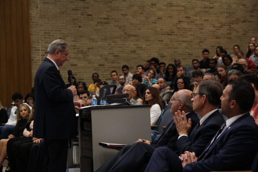 The keynote address by the former President of Lebanon Amine Gemayel attracted many students, faculty, and community members to hear his opinions on instability of the Middle East and its global significance.