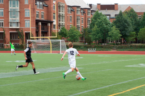 Second-year midfielder Josh Wargo, the hero in the Spartans last match, dribbles down the sideline in search of a goal.