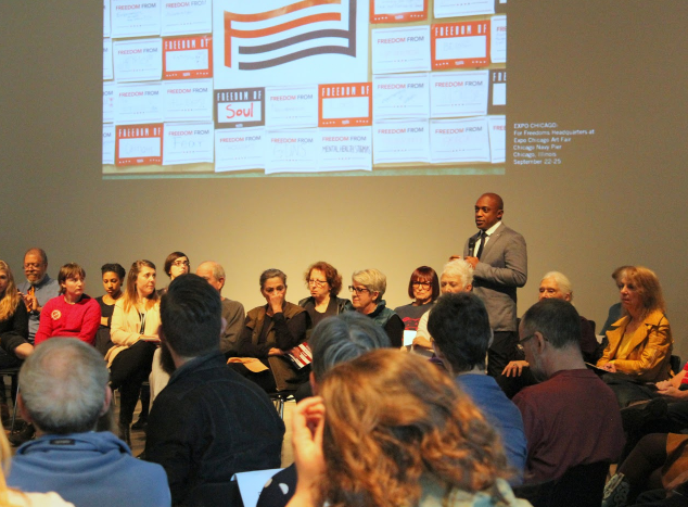 For Freedoms is an artist-run Super PAC that was founded to encourage art-based dialogue about politics and to facilitate greater engagement with the 2016 presidential election. On Nov. 5, it hosted a town hall meeting at MOCA to discuss the election.