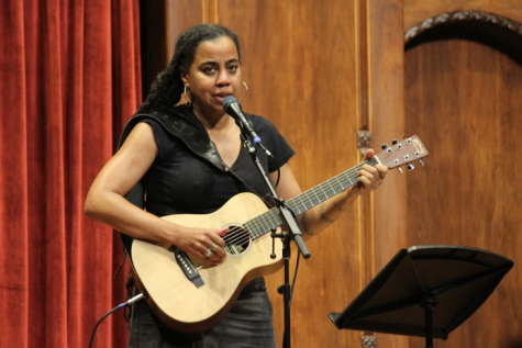 """Suzan-Lori Parks, a Pulitzer Prize winner for drama, performing her song, """"The Making of a Monster,"""