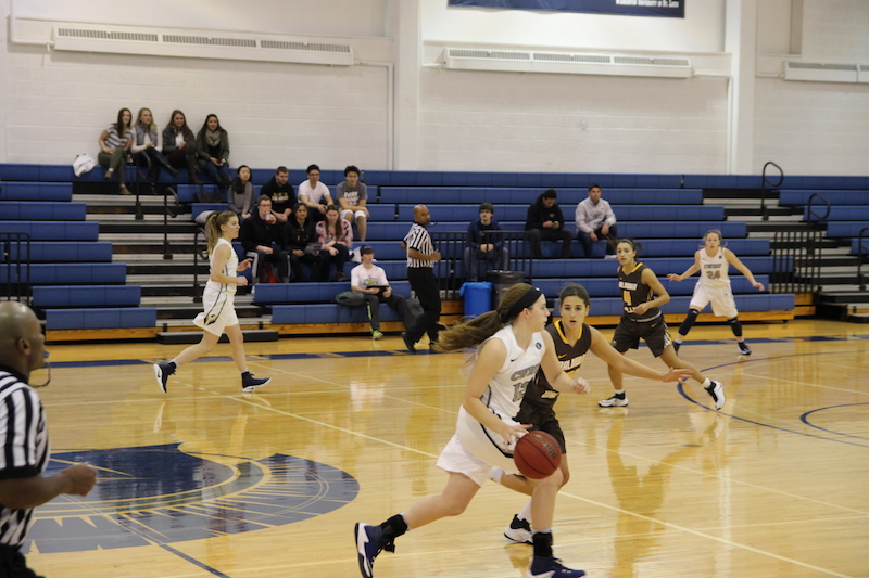 Alexis Amburgey drives into the front court looking for an open teammate. After a scorching hot start to the season, the women's basketball team has lost three straight games.