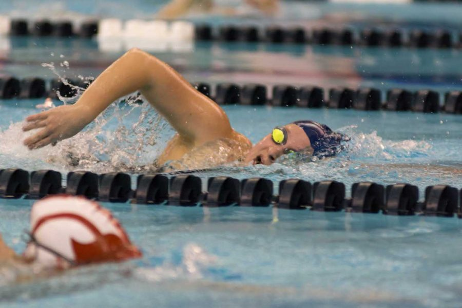The men's swimming and diving team finished sixth and the women's team finished seventh in the conference.