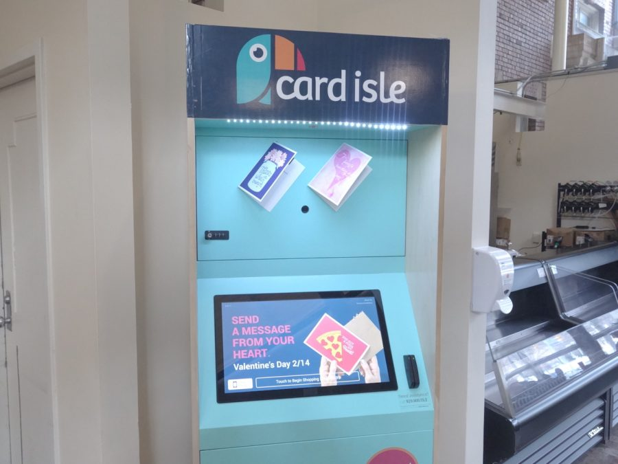 The greeting card kiosk, installed in Thwing Atrium a few weeks ago, provides more than 4,000 card designs for personalized greeting cards.