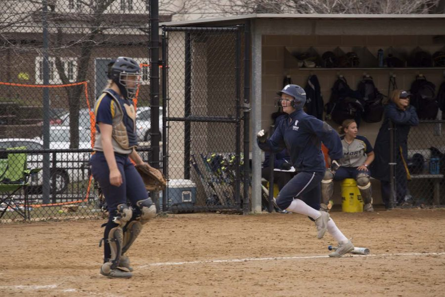 Third-year+outfielder+Katie+Wede%2C+who+leads+the+team+with+12+stolen+bases%2C+sprints+home+during+a+game+earlier+this+season.+