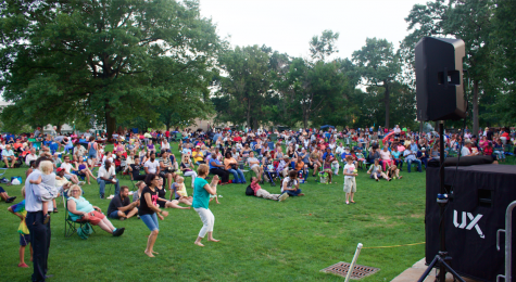 Attendees dance to Celtic rock at a Wade Oval Wednesday.