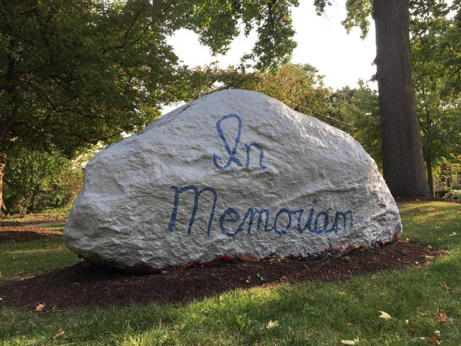 The memorial rock was first painted in August 2014, when four CWRU students were killed in a plane crash. It has since been repainted several times.