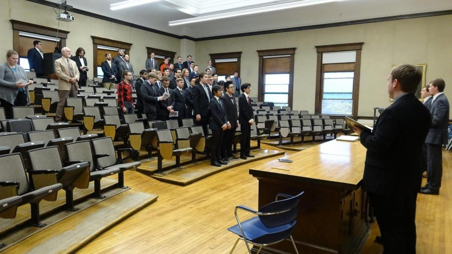 Delta Upsilon inducted three new members publically Nov. 3-4. For the first time, the ceremony was streamed live on Facebook so that family members back home could tune in.
