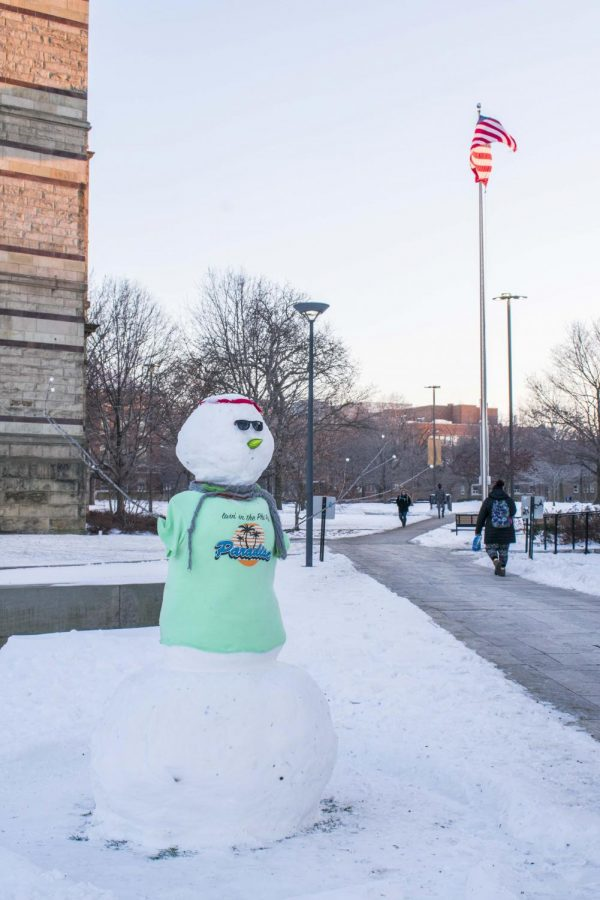 The Cleveland winter has created the perfect conditions for snowmen.