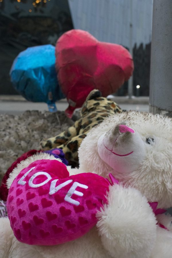 Those who came out to Thomas Yatsko's vigil last Saturday left behind stuffed animals and balloons in his memory