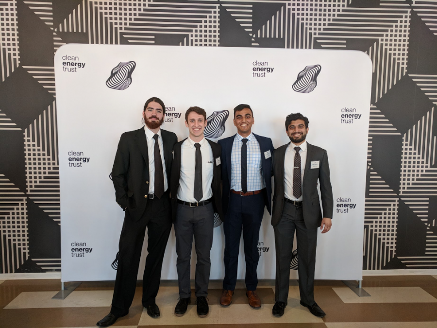 Left to right: Alejandro Owen, Lucas Fridman, Prince Ghosh and Nihar Chhatiawala pose as a team after competing for the U.S. Department of Energy's (DOE) CleanTech University Prize in Chicago on Thursday, Feb. 8. The research group's