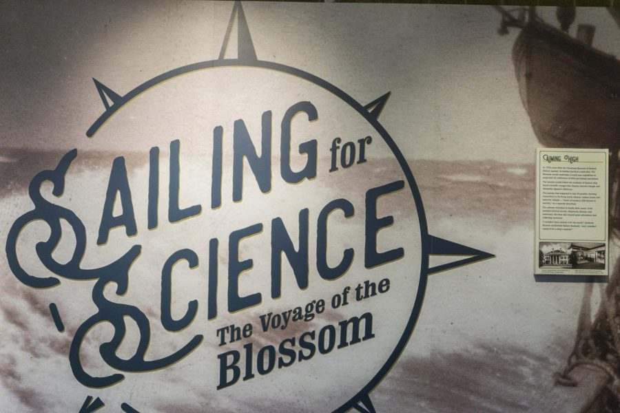 The Cleveland Museum of Natural History's new sailing exhibit features The Blossom, a ship which sailed the world's oceans in the early 1920s. The exhibit includes a survey done by W.E. Rice, an associate professor of municipal engineering at the Case School of Applied Science who produced an adapted map of the ship's travels.
