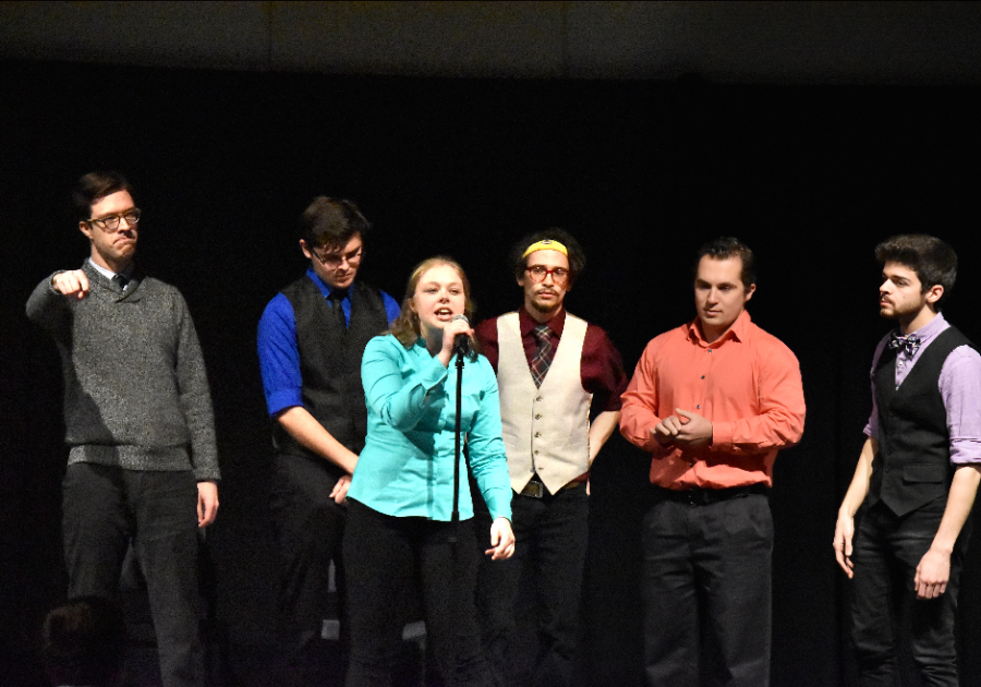"1. IMPROVment hosted ""Lake Effect,"" its annual comedy show on April 7. 2. Fifth-year student Brett DiCello and second-year student Tony Monczewski perform as IMPROVment cast members at ""Lake Effect."""