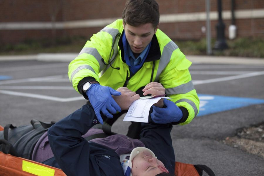 Case Western Reserve University EMS practiced a mass casualty drill, which involved a detailed backstory of a girl who crashed into a shuttle stop full of people on her way to confront her unfaithful boyfriend.
