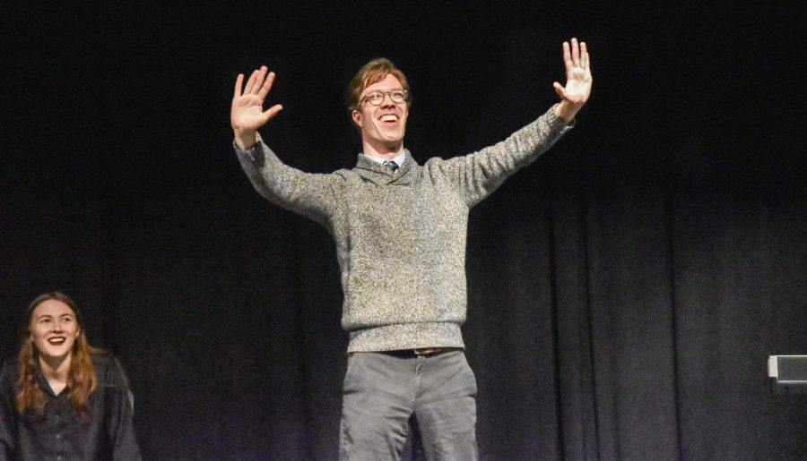 Third-year IMPROVment member Oliver Ruhl performing at