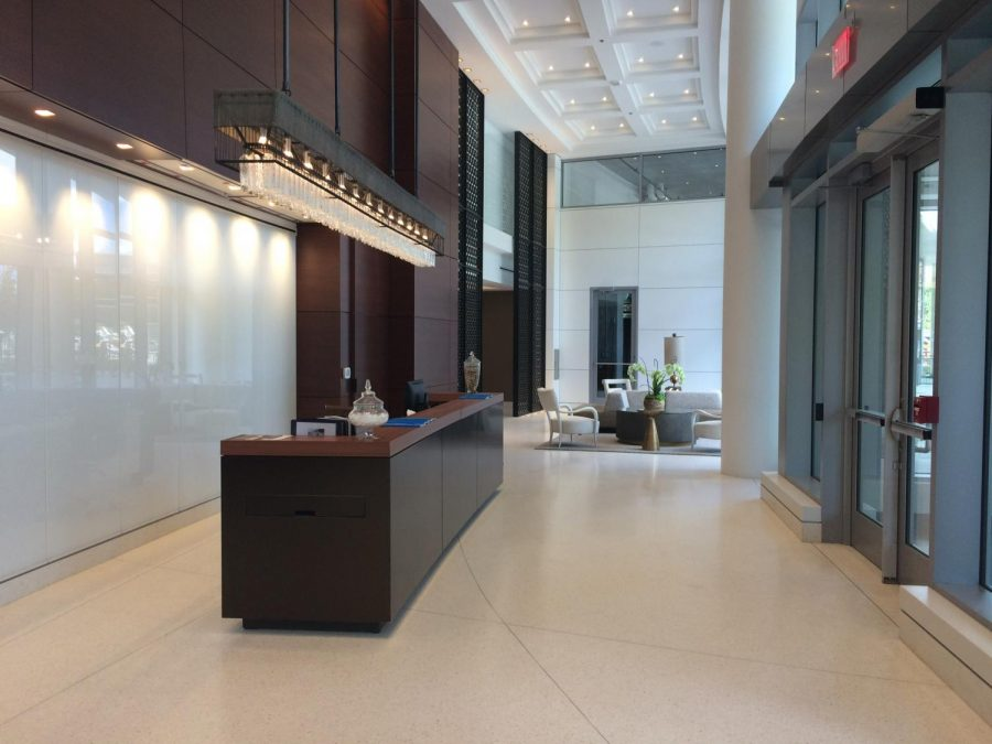 A 24-hour concierge service, a market, restaurant and beautifully decorated seating area welcomes residents and guests to the 280 unit luxury complex. A mailroom and package system are also located on the ground floor.