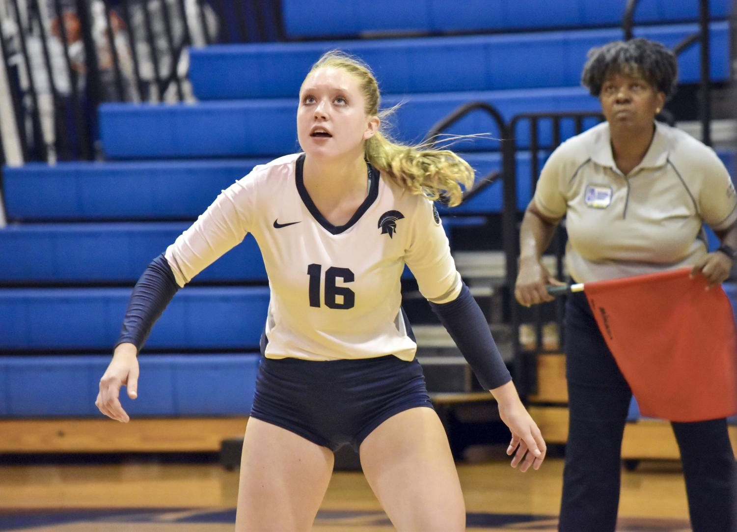 First-year outside hitter Lauren Carmon has filled the role of injured third-year outside hitter Brianna Lemon. Even though she didn't get much playing time early in the season, she has stepped up against tough competition.