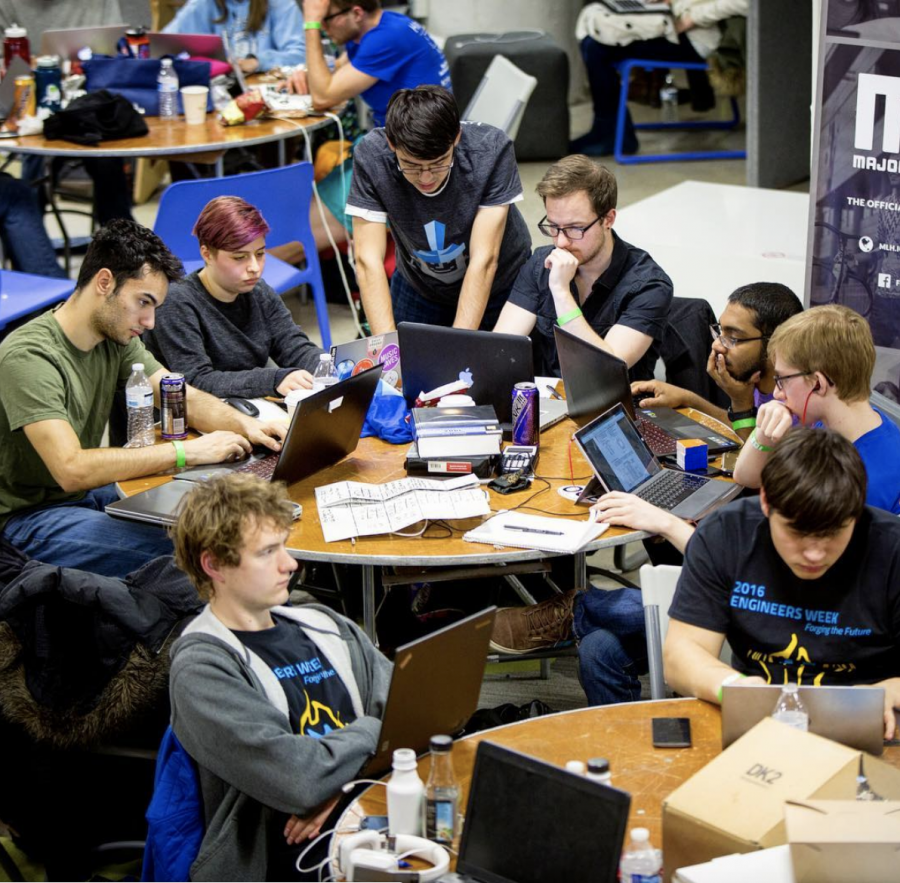 Students worked on teams for projects during HackCWRU 6 in the [think]box.