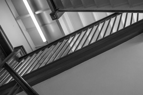 A staircase in Mather House. It's just one of many buildings at CWRU that lack accessibility options for disabled students.