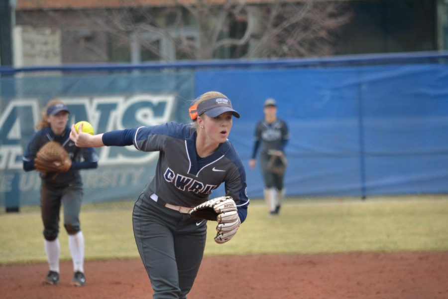 Third-year Ilissa Hamilton prepares a pitch. The Spartans have gone 7-1 against four teams from Northeast Ohio.