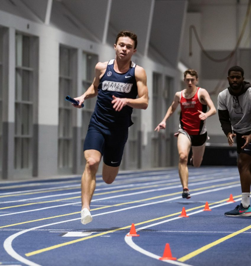 Third-year+Michael+Hradesky+competes+in+the+men%E2%80%99s+4x400-meter+relay%2C+which+placed+fifth+at+the+UAA+Championships.+Hradesky+will+compete+in+the+800-meter+run+this+weekend+at+the+ONU+Polar+Bear+Last+Chance+Meet.