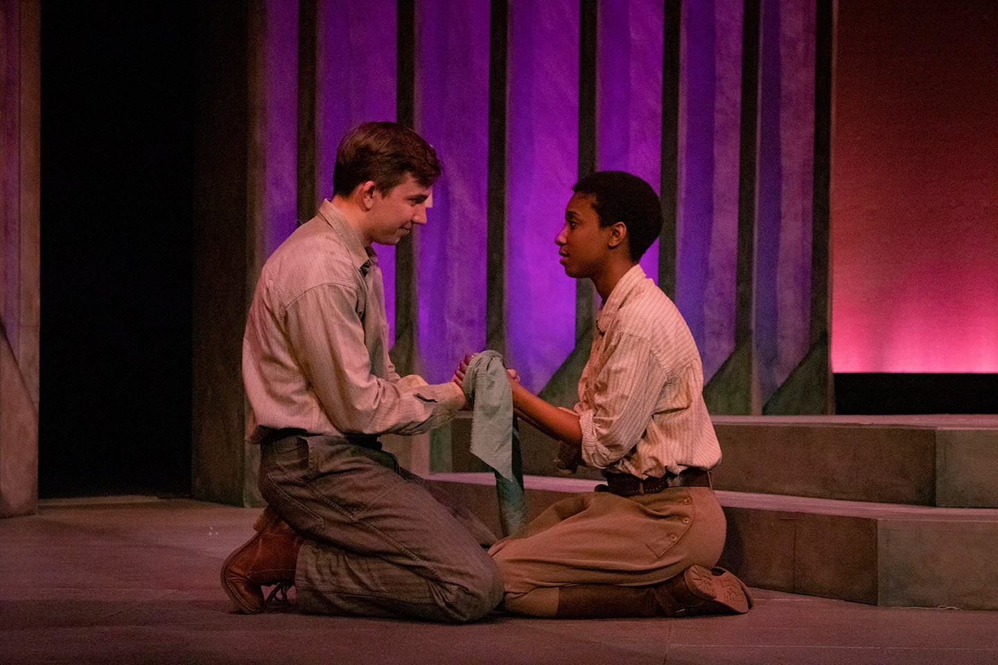 Fourth-year student Matt Thompson (Orlando) is onstage with fellow actress Nailah Matthews (Rosalind) in his last CWRU production.