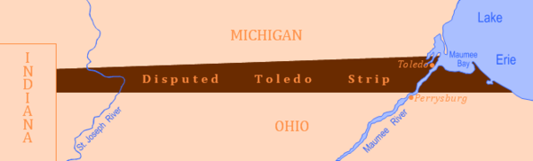 An error in placing the borders between Ohio and Michigan created an area of land known as the Toledo Strip. The states disagreed over who should be allowed the land, resulting in the Toledo War.