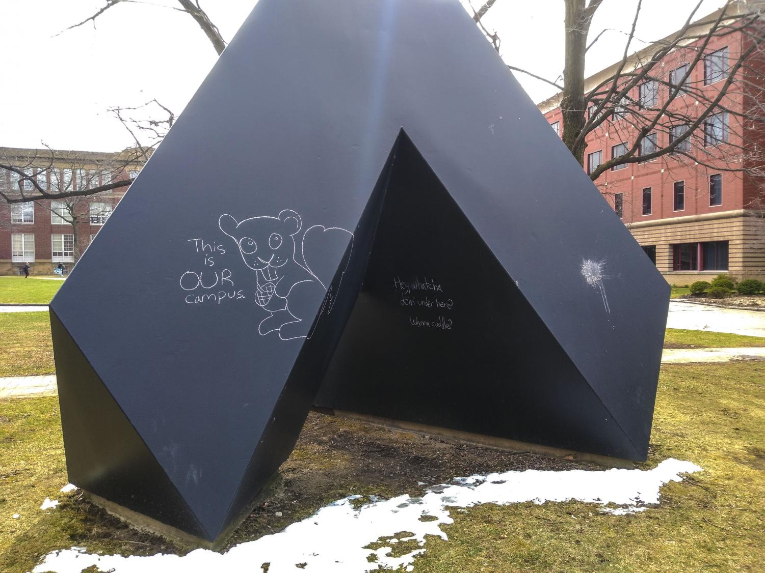 Spitball by Tony Smith is a staple of the Case Quad, but it has also ignited a debate over the difference between vandalism and community ownership.