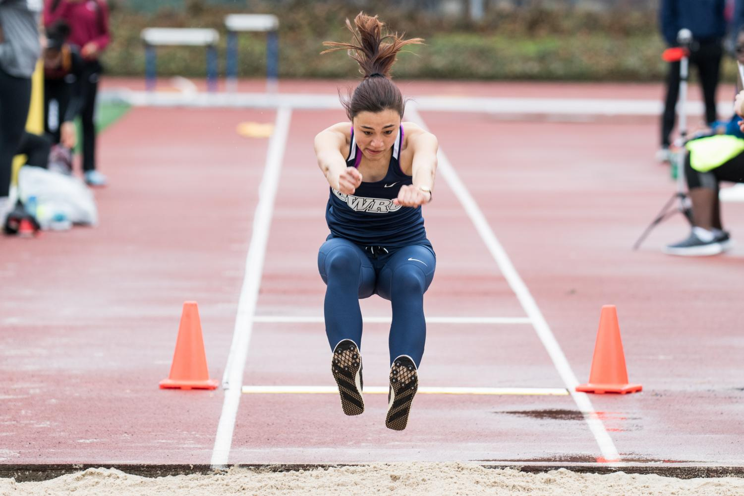 Jumper Samantha Kelts competes at DiSanto Field this past weekend. Kelts finished first in the long jump.