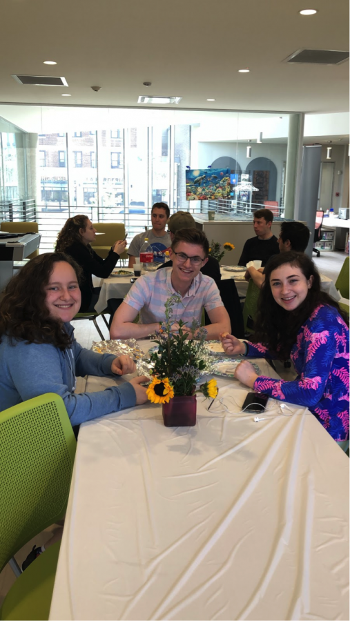 Students+enjoyed+a+celebratory+Seder+meal+at+the+Albert+and+Norma+Geller+Hillel+Student+Center.