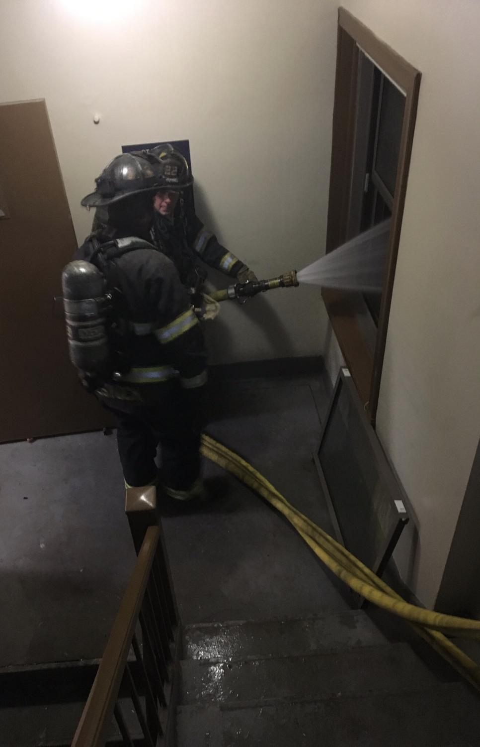 The fire at Commodore Place Apartments was caused by was likely caused by improper disposal of smoking equipment. No injuries were caused by the fire.